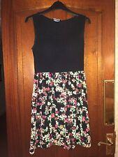 Ladies Sun Dress Size 8 -  Black Floral Cotton Stretch Beach Party Summer