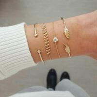 Fashion 4Pcs Simple Leaf Knot Bracelet Adjustable Open Bangle Women Jewelry JA