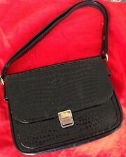 Authentic CELINE CROCODILE BOX CLASSIC SHOULDER BAG BLAck MINT ORIGINAL