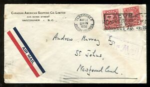 p706 - VANCOUVER 1932 Airmail Cover to NEWFOUNDLAND