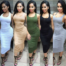 Women's Plain Sleeveless Slim Dress Knee Length Bodycon Sexy Casual Dress NEW