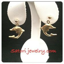 14 KT Solid Yellow Gold Dolphins  Dangling Studs Back Earrings New Gift Girls