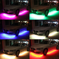 4Pcs RGB LED Under Car Tube Strip Underbody Glow Neon Light Kit Wireless Control