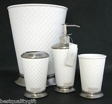 Raymond Waites 4pc Set White Checkered Ceramic Soap Dispenser Tumbler 2 More
