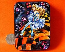 Russian HAND PAINTED LACQUER Box L Carroll Alice in Wonderland Down Rabbit Hole