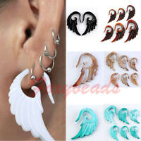 1pc Punk Acrylic Angel Wing Spiral Taper Ear Plugs Expander Stretcher Colors