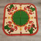VTG Christmas Tree Skirt Red Green Elfs Candle Signed Unique
