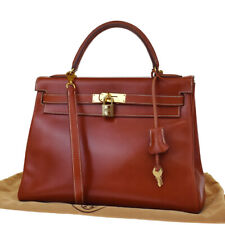 AUTHENTIC HERMES KELLY 32 2WAY HAND BAG BOX CALF LEATHER BROWN CADENA 125LB226