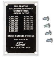 Patent (Data) Plate with 4 Screw for 8N Ford Tractor - Part # 8N14001
