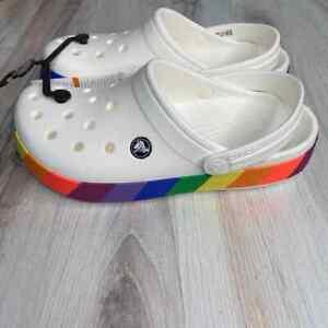 CROCS Classic Crocband Clog Rainbow Women's Size 7 NWT