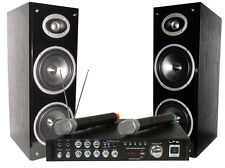 LTC BLUETOOTH DJ KARAOKE FESTA SET IMPIANTO AUDIO PA 2 X USB Wireless Microfoni