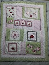Ladybug Dragonfly Flower Baby Blanket Comforter Pink Green Black Gingham Plaid