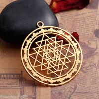 HX 1PC Gold Plated Hollowed Sri Yantra Pendant Necklace Jewelry 4.5x4cm