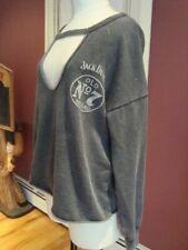 Lucky Brand Womens Jack Daniels Gray Sweatshirt, EUC !!!! Retail $70 MEDIUM