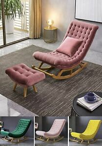 Rocking Chair Velvet Sofa Lounge Chair Solid Wood Accent Chair Ottoman 4 Colours