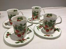 "4 X Roy Kirham ""Strawberry"" Mugs & Sandwich Plates-Excellent Condition"