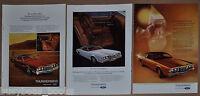 1972 Ford THUNDERBIRD advertisements x3, 2-door Landau T-Bird, plus interior