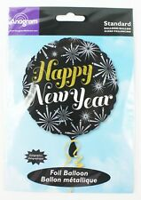Happy Years Eve Gold Black Firework Helium Balloon Round Party Decoration 18