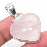 "Rose Quartz Gemstone Handmade 925 Silver Jewelry Pendant 1.97"" AL-880"
