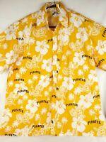 Pittsburgh Pirates Hawaiian Aloha MLB Baseball Floral Button Shirt Adult XL