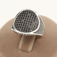 Cavalles Brand Round Form 925 Sterling Silver Men's Ring w/ Black Zircon Stone