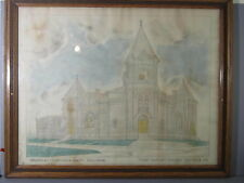 1908 Folk Art Drawing of Baptist Church in Oneonta, New York Original Frame AAFA