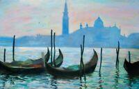 "Nino Pippa Original Listed Oil Painting Italy Venice S G Maggiore  24""X36"" COA"