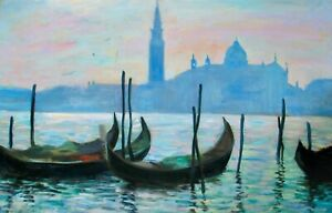 "Nino Pippa Listed Painting Italy Venice S G Maggiore  Seago Interest 24""X36"" COA"