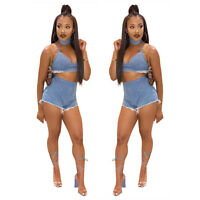 Womens Spaghetti Strap Crop Top Bodycon Playsuit Club Party Short Trousers 2pcs