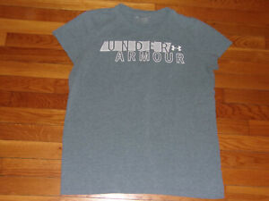 UNDER ARMOUR CAP SLEEVE GRAY T-SHIRT WOMENS XL EXCELLENT CONDITION