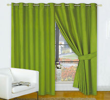 "OLIVE MOSS GREEN 66"" x 90"" FULLY LINED EYELET READY MADE CURTAINS POLYESTER"