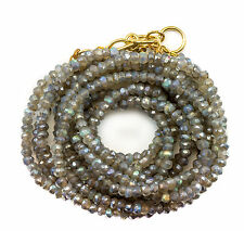 Labradorite Necklace or Wrap Bracelet 14k GF Three Strand Adjustable 7 8 22 Inch