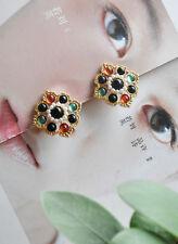 Boucles d'Oreilles Clips Pinces Doré Multicolore Perle Noir Rouge Vintage J7