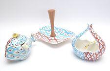 1950s Handpainted Italian Art Pottery Tableware Set  Platter/sauce bowl/serving