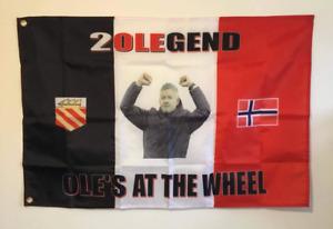 OLES AT THE WHEEL - OLE SOLSKJAER  MAN UNITED FOOTBALL FLAG 3x 2 90cm x 60cm