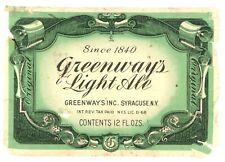 Vintage Irtp 12oz. Beer Bottle Label Greenway's Light Ale Syracuse, Ny