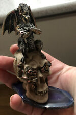 Dragon Sitting On Skull W Agate Figurine - Steampunk Design 134g 12cm H x 8cm L