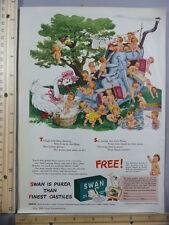 Rare Original VTG 1943 GH Campbell's Soup Swan Soap Kids Advertising Art Print