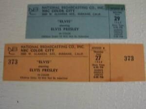 ELVIS PRESLEY 2. CONCERT TICKETS FROM NBC COLOR STUDIOS. MINT