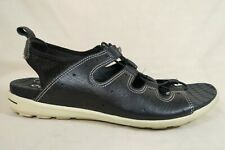 Ecco Jab Toggle Black Leather White Sport Sandals Shoe Womens 41 EU/US 10 - 10.5