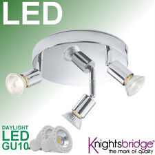 Knightsbridge LED Chrome 3 Head Spot Light Bar Fitting Tripple Ceiling Light 5w