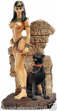 Nude Ancient Egyptian Patially nude Queen w/ black basset cat sculpture