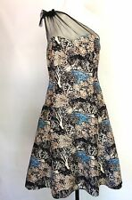 Anthropologie Plenty Frock Tracy Reese Silk Trees Pin-up Blue Black Size 10 M
