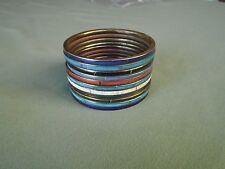 "Lot 11 VTG 8"" Inner Circumference Brass Multicolor Shell Inlay Bangle Bracelets"