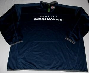Seattle Seahawks Quarter Zip Long Sleeve Pullover 3XL Navy Cool Logos NFL