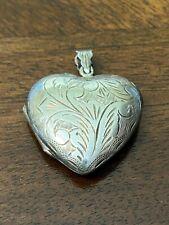 Vintage Puffy Heart Sterling Silver Pendant Locket