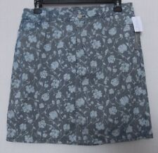CJ Banks Size 16W Denim skort, floral and stripe print, navy NWT