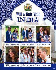Grenada 2016 MNH Prince William & Kate Visit India 6v M/S Royalty Stamps
