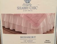 NEW!  Simply Shabby Chic WHITE DOUBLE RUFFLE Bedskirt - QUEEN Size FREE SHIPPING