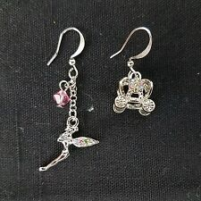 Tinkerbell Fairy & Cinderella Carriage Earrings, Pink & Blue Crystals Disney